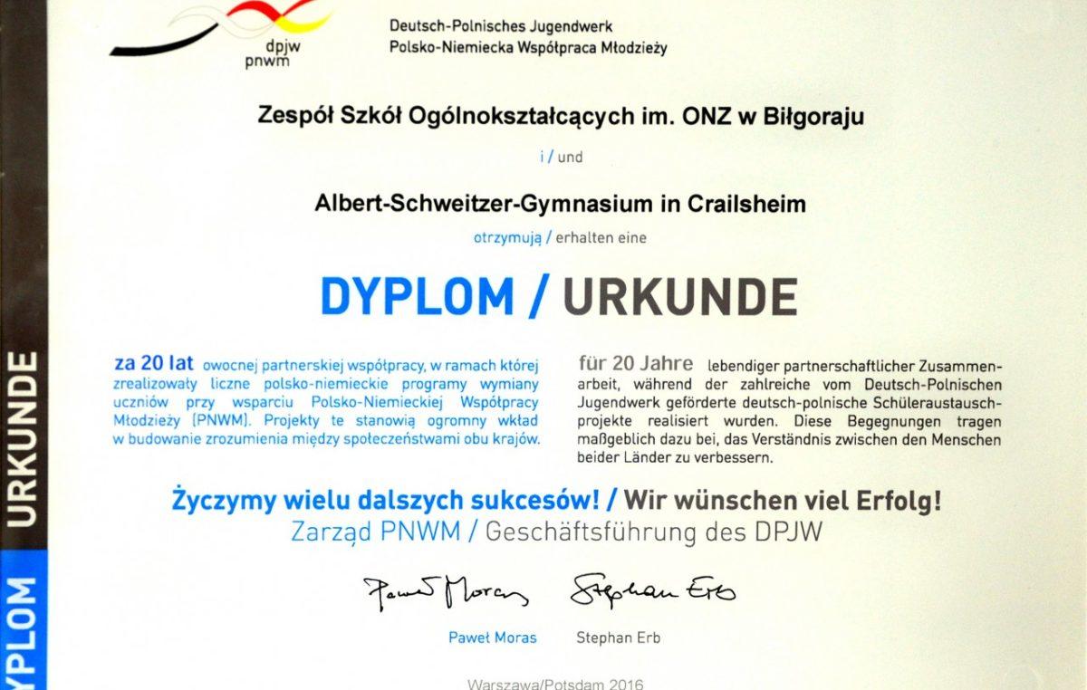 6 lutego 2017 – Wyróżnienie i dyplom specjalny za 20 lat wymiany polsko-niemieckiej