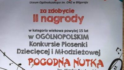 "26 marca 2017 – Sukces w Ogólnopolskim Konkursie ,,Pogodna Nutka"""