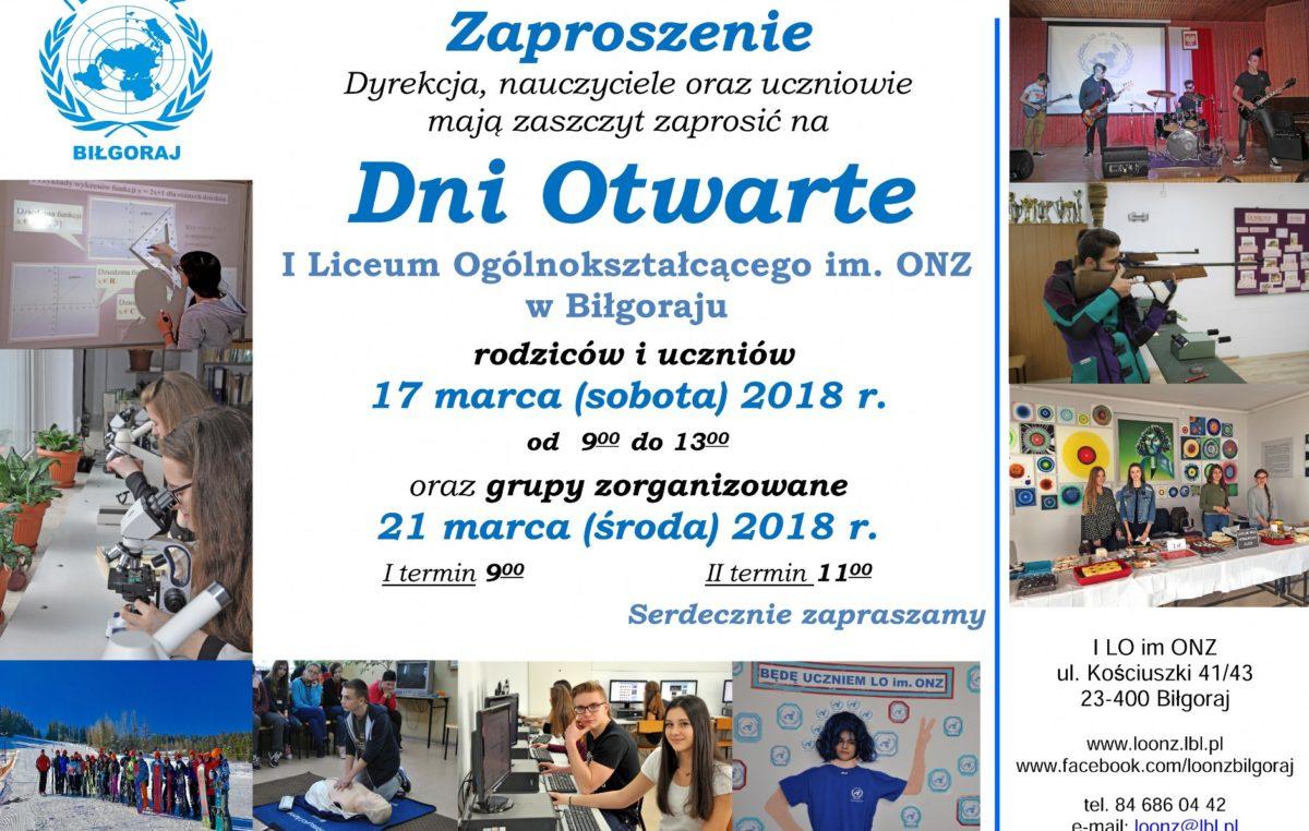 2 marca 2018 – Dni Otwarte – 17 i 21 marca 2018 r.