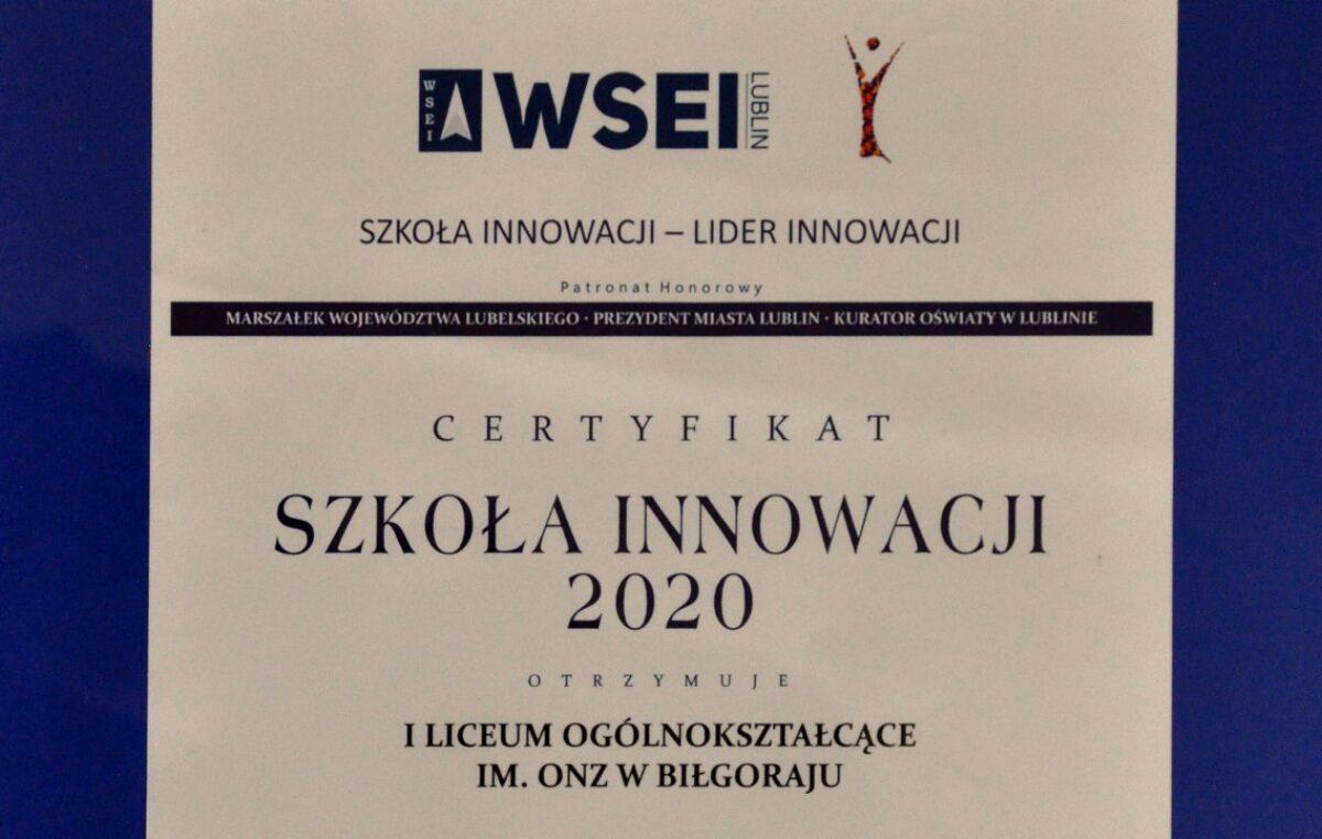 """17 września 2020 – Nasza szkoła wyróżniona w konkursie """"Szkoła Innowacji 2020"""""""