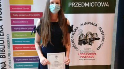 3 października 2020 – Julia – laureatką XIII edycji Ogólnopolskiej Olimpiady Przedmiotowej