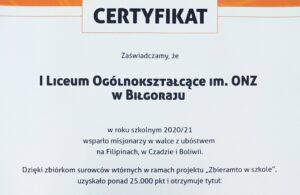 """14 września 2021 – Projekt """"Zbieramto w szkole"""""""